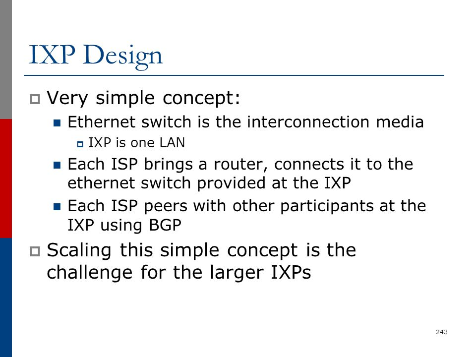 IXP Design Very simple concept: