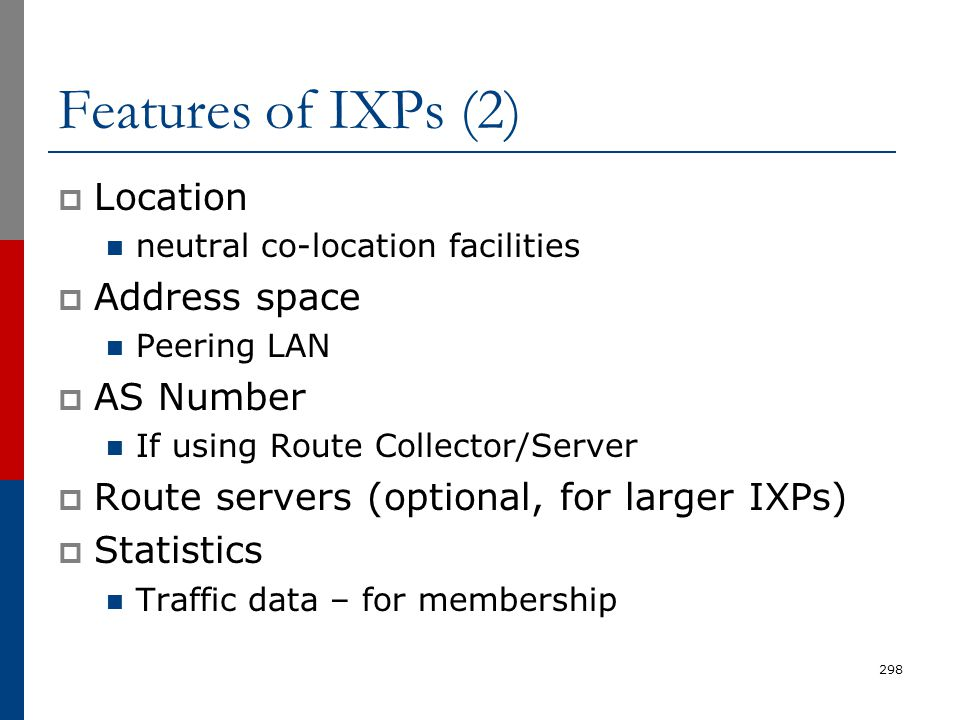 Features of IXPs (2) Location Address space AS Number