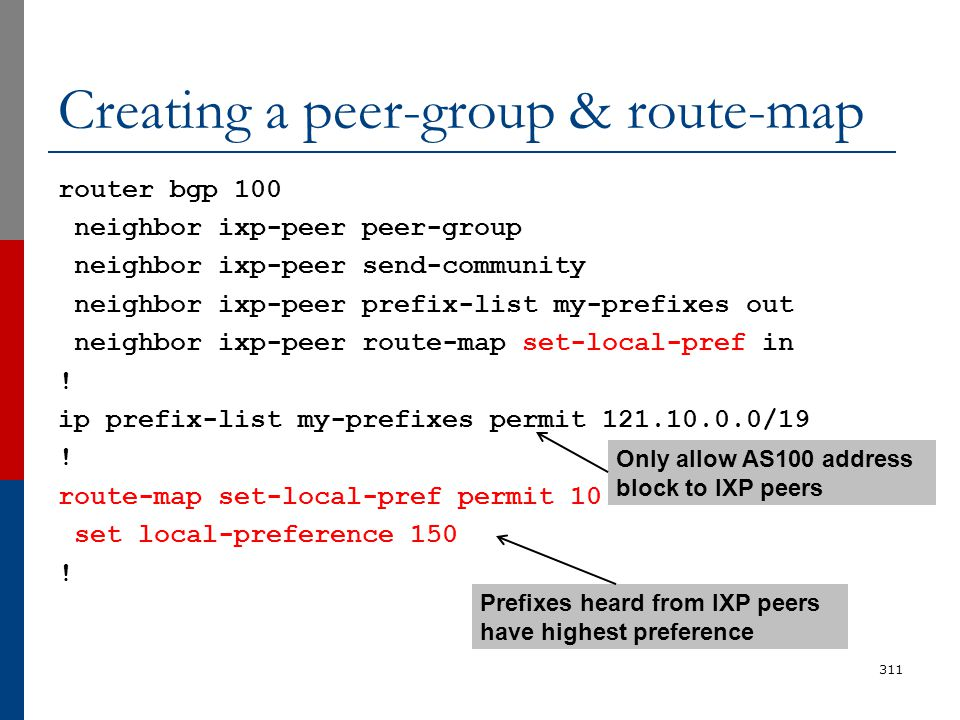 Creating a peer-group & route-map