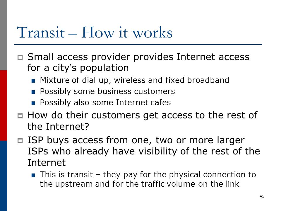 Transit – How it works Small access provider provides Internet access for a city's population. Mixture of dial up, wireless and fixed broadband.