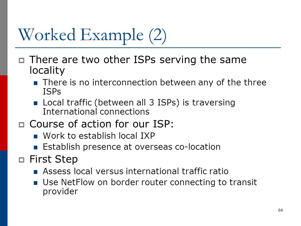 Worked Example (2) There are two other ISPs serving the same locality