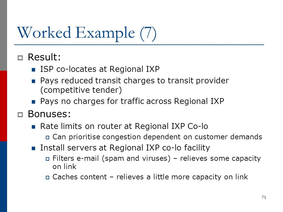 Worked Example (7) Result: Bonuses: ISP co-locates at Regional IXP