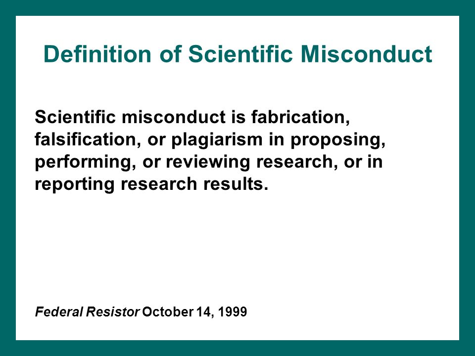 Definition of Scientific Misconduct