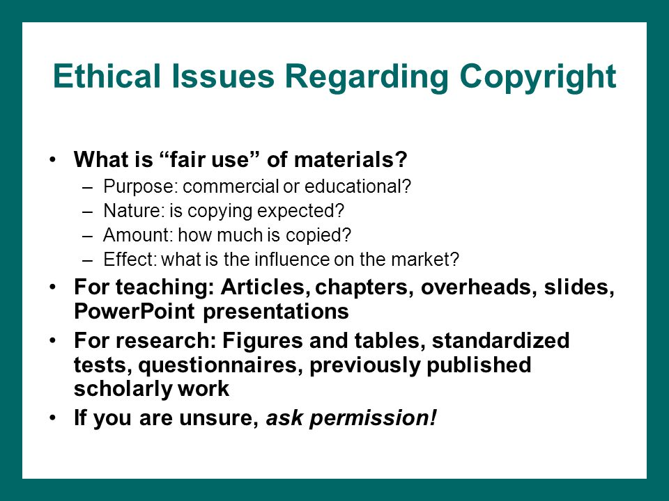 Ethical Issues Regarding Copyright