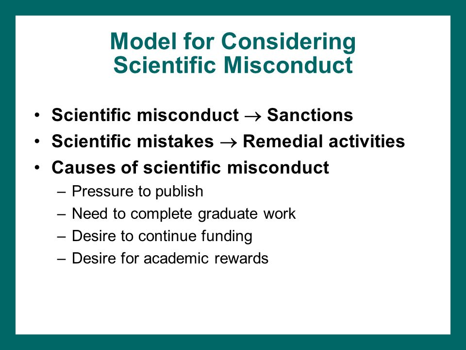 Model for Considering Scientific Misconduct