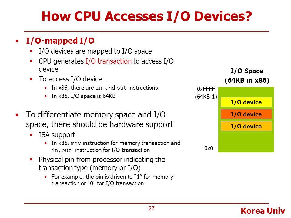 How CPU Accesses I/O Devices