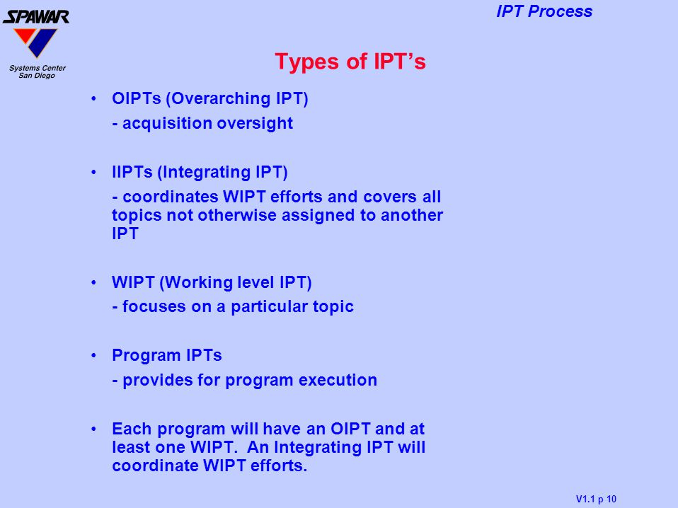 Types of IPT's OIPTs (Overarching IPT) - acquisition oversight