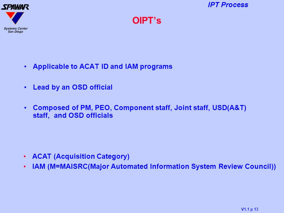 OIPT's Applicable to ACAT ID and IAM programs Lead by an OSD official