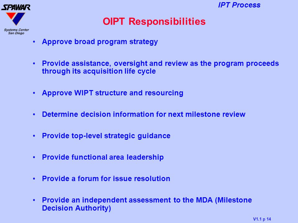 OIPT Responsibilities