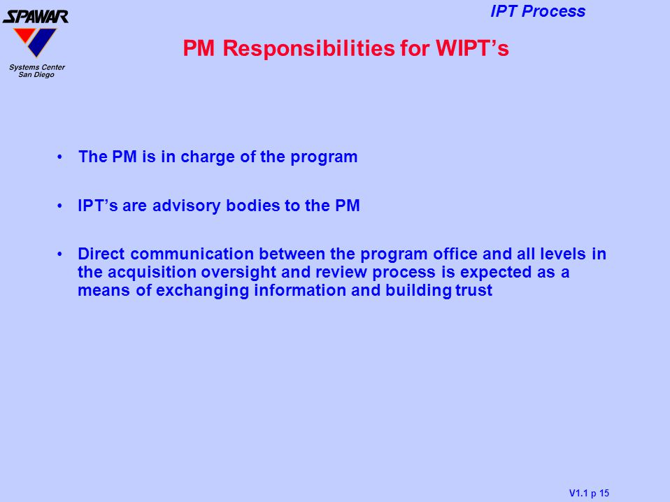 PM Responsibilities for WIPT's
