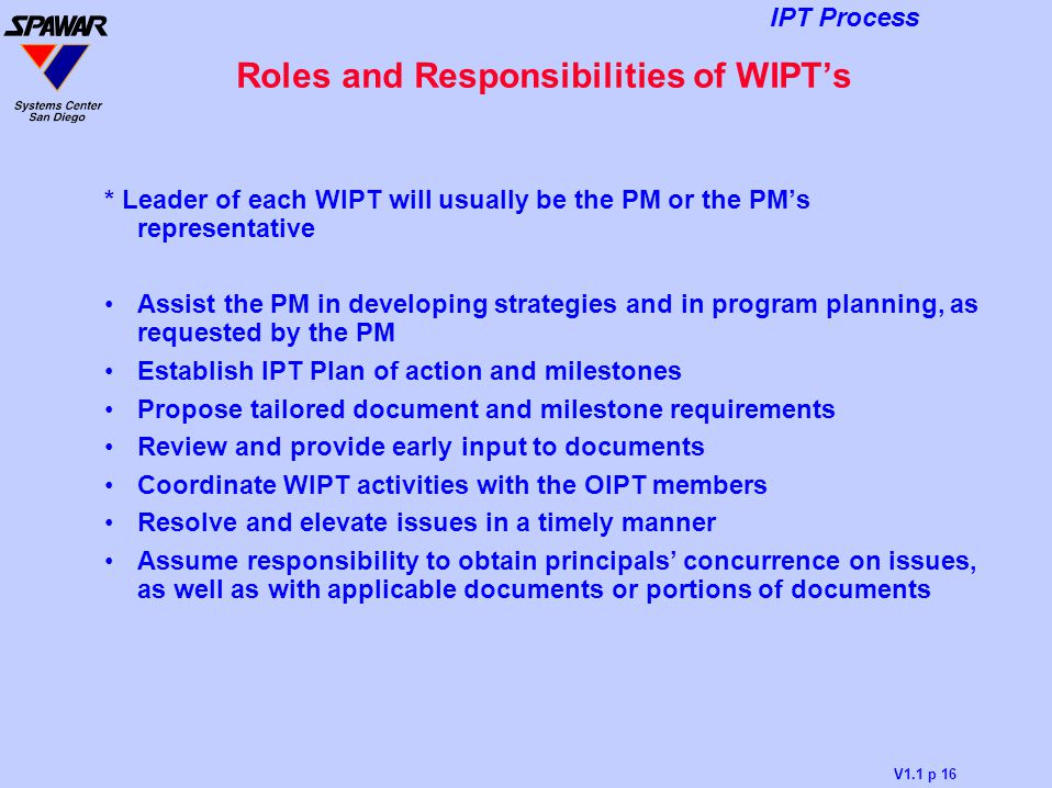 Roles and Responsibilities of WIPT's