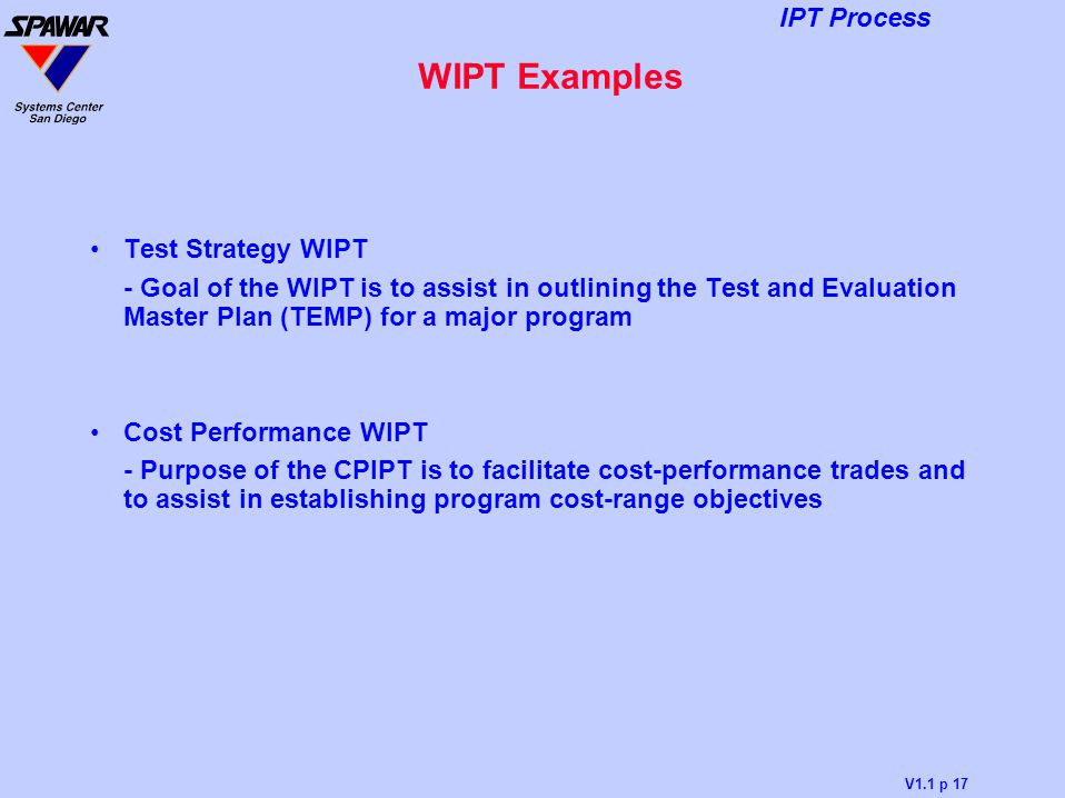 WIPT Examples Test Strategy WIPT