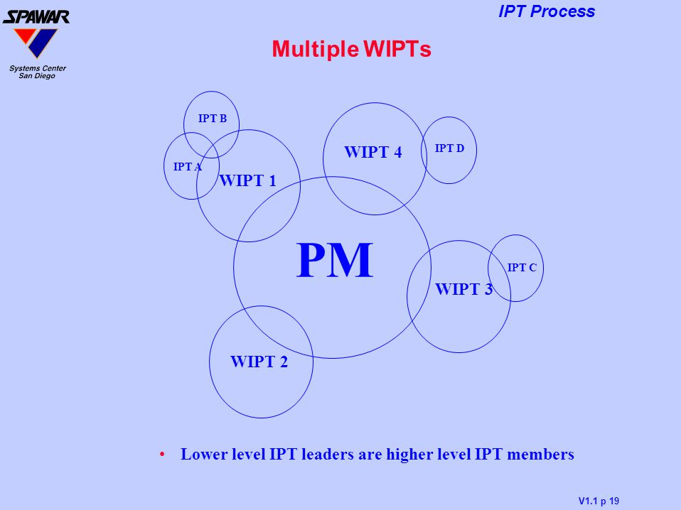 Lower level IPT leaders are higher level IPT members