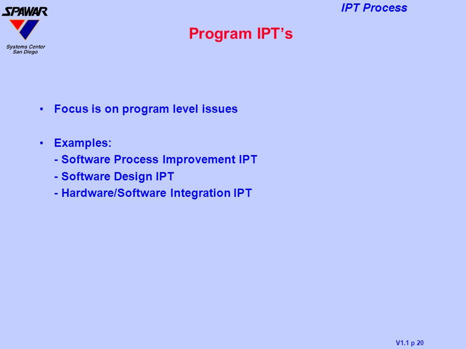 Program IPT's Focus is on program level issues Examples: