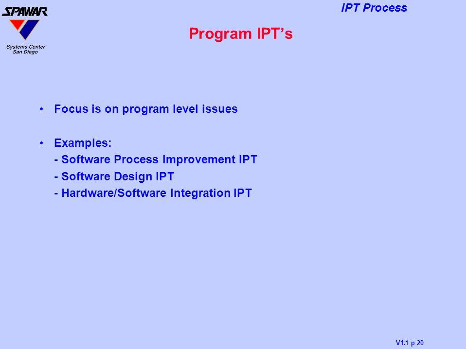 Program IPT's Focus is on program level issues Examples: