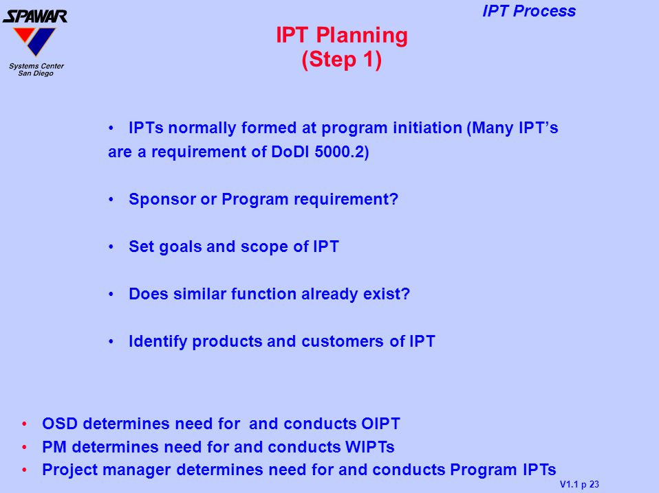 IPT Planning (Step 1) IPTs normally formed at program initiation (Many IPT's. are a requirement of DoDI 5000.2)
