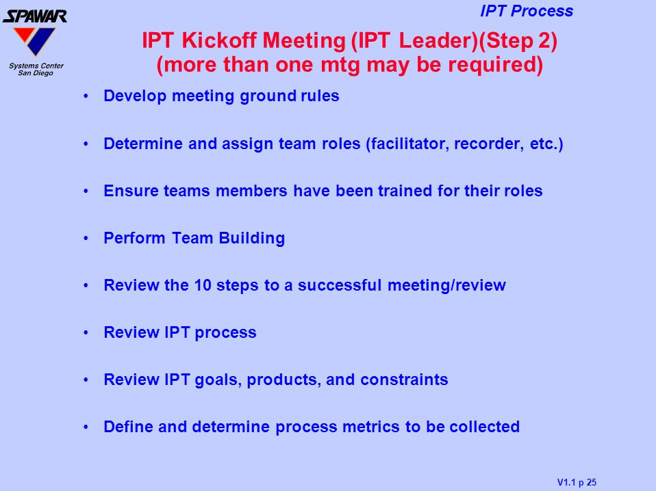 IPT Kickoff Meeting (IPT Leader)(Step 2) (more than one mtg may be required)