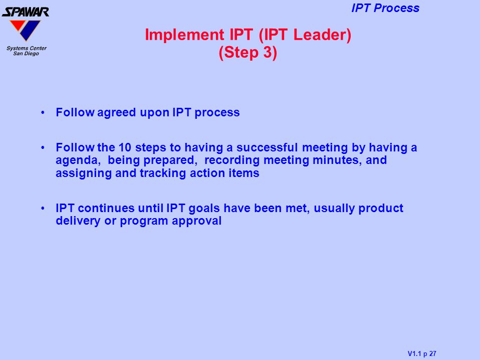 Implement IPT (IPT Leader) (Step 3)