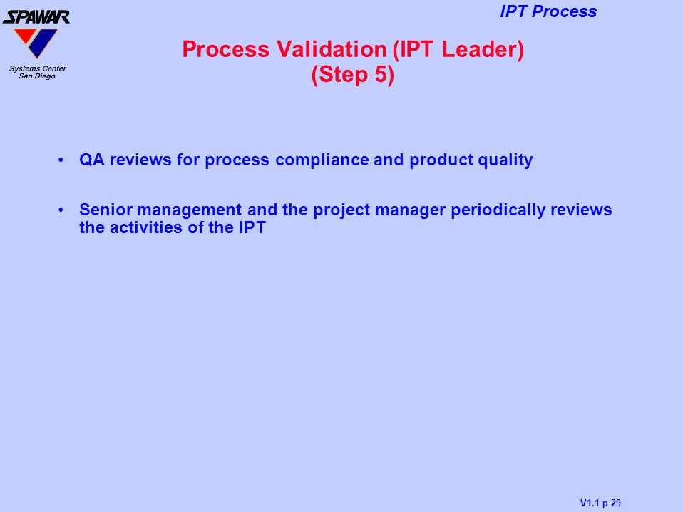 Process Validation (IPT Leader) (Step 5)