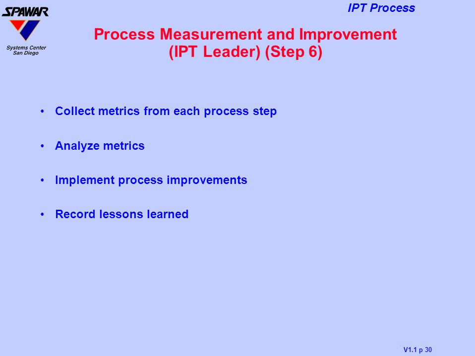 Process Measurement and Improvement (IPT Leader) (Step 6)