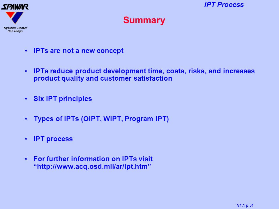 Summary IPTs are not a new concept