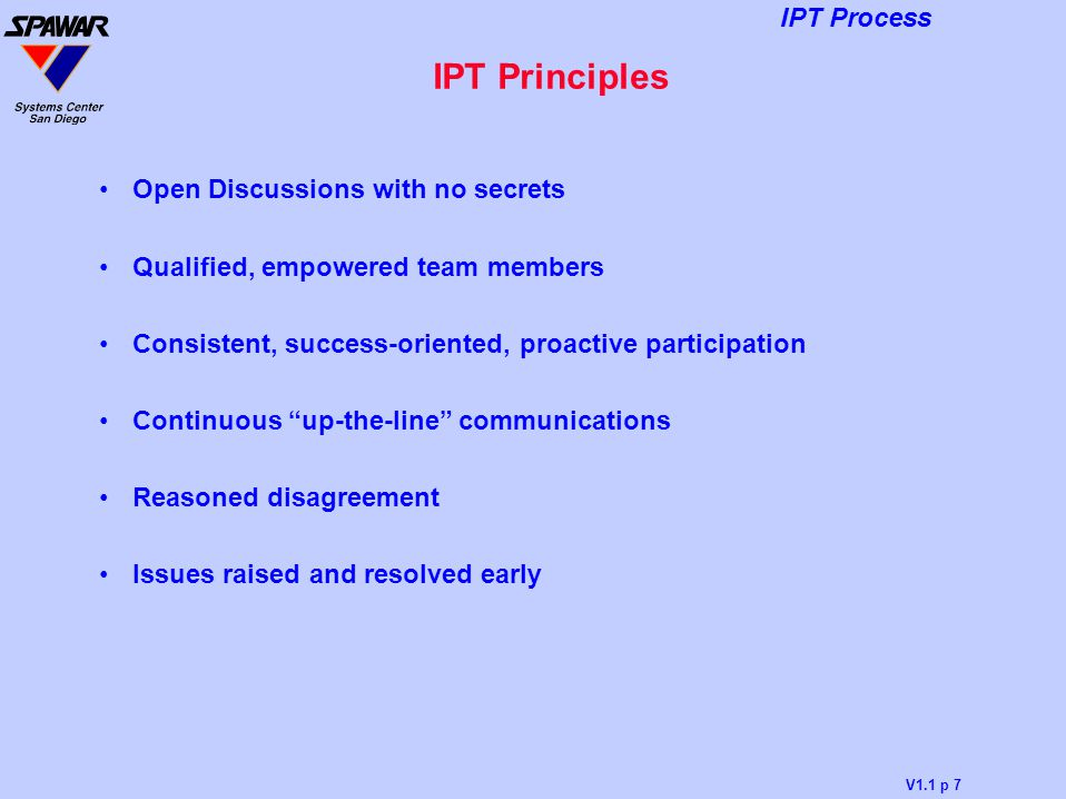IPT Principles Open Discussions with no secrets