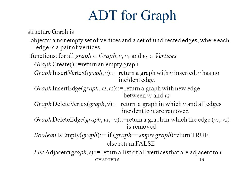 ADT for Graph structure Graph is