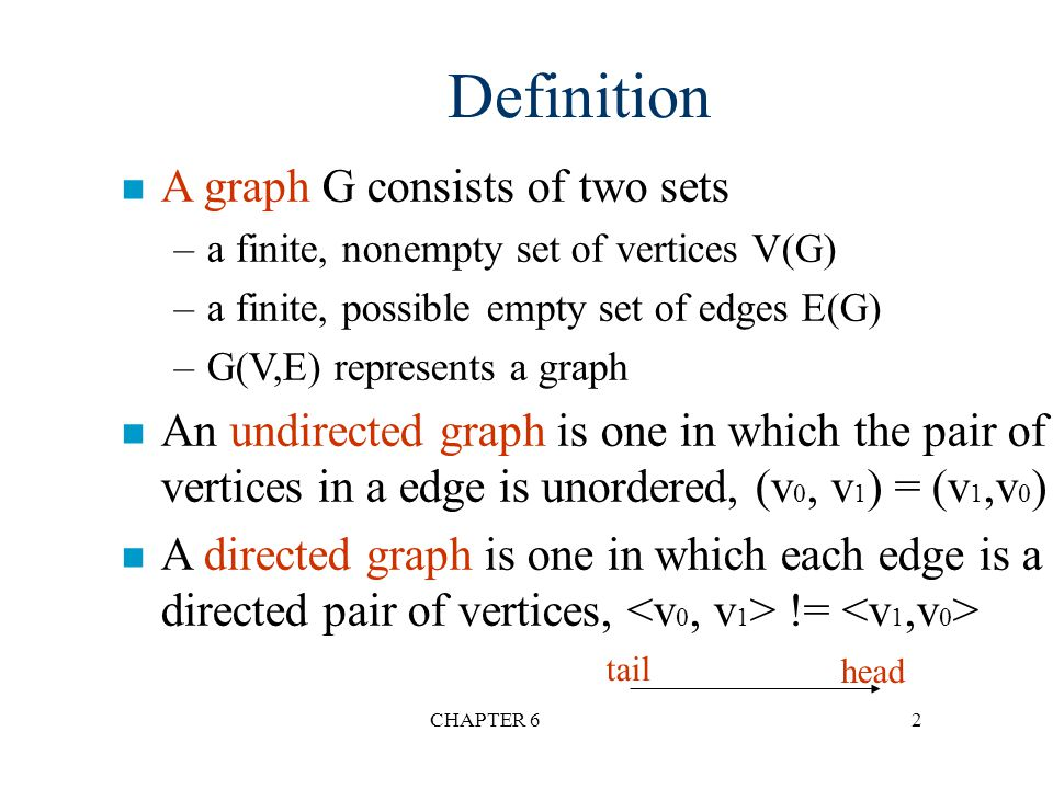Definition A graph G consists of two sets