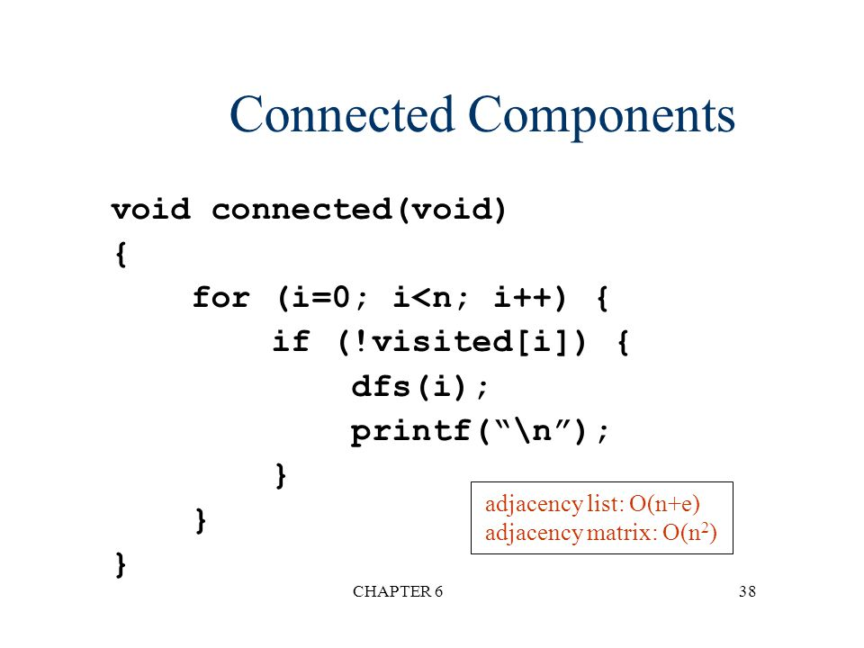 Connected Components void connected(void) { for (i=0; i<n; i++) {
