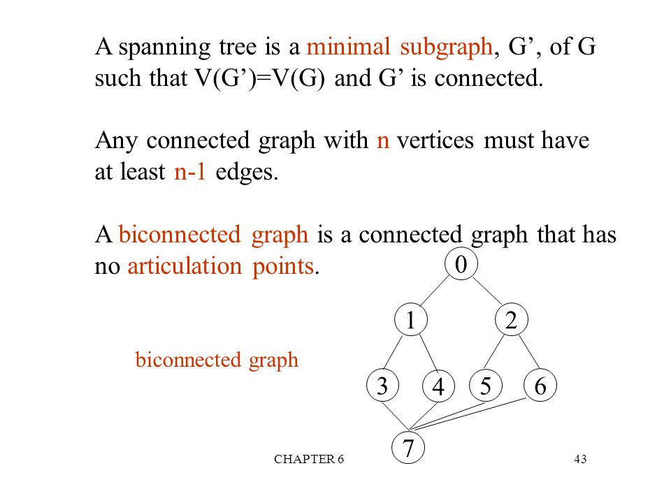 A spanning tree is a minimal subgraph, G', of G
