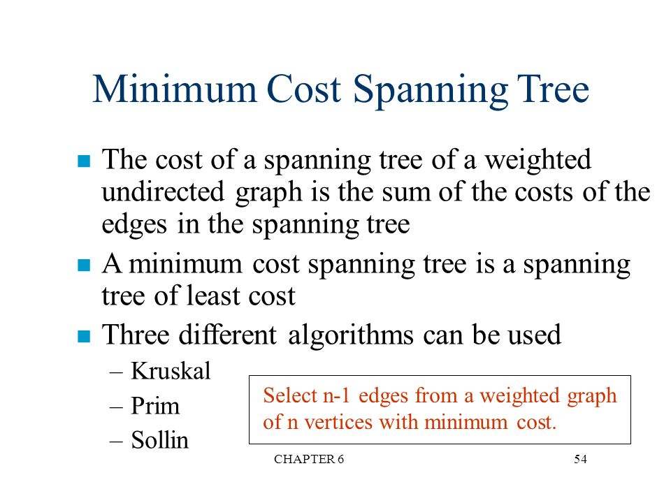 Minimum Cost Spanning Tree