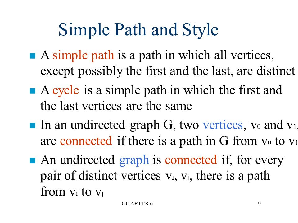 Simple Path and Style A simple path is a path in which all vertices, except possibly the first and the last, are distinct.