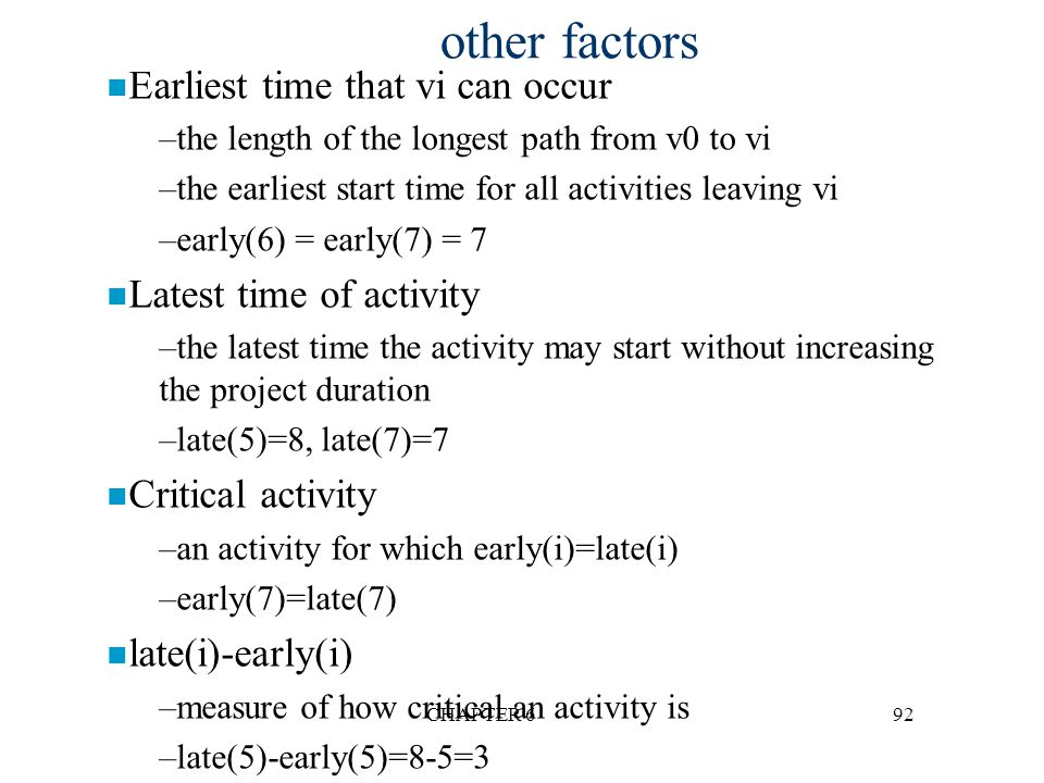 other factors Earliest time that vi can occur Latest time of activity
