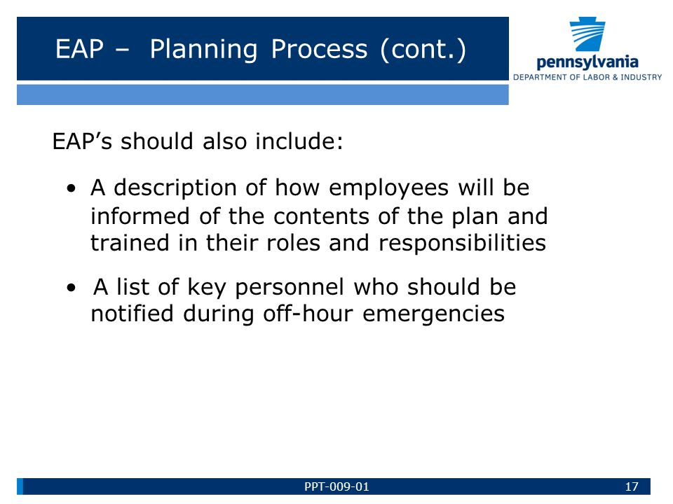 EAP – Planning Process (cont.)