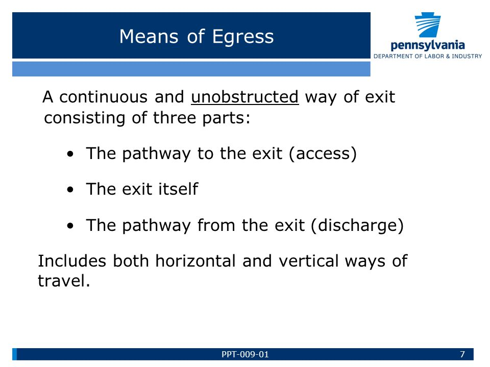 A continuous and unobstructed way of exit consisting of three parts: