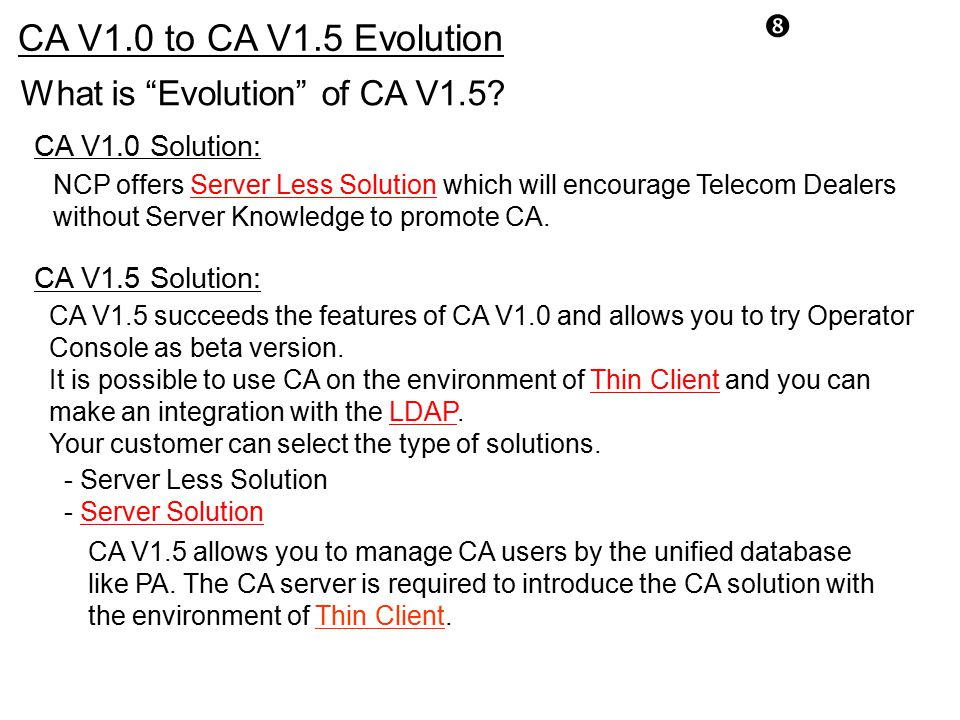 CA V1.0 to CA V1.5 Evolution What is Evolution of CA V1.5