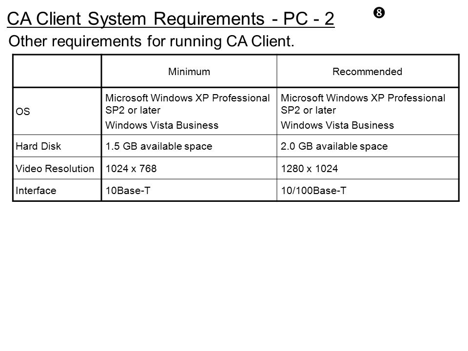 CA Client System Requirements - PC - 2
