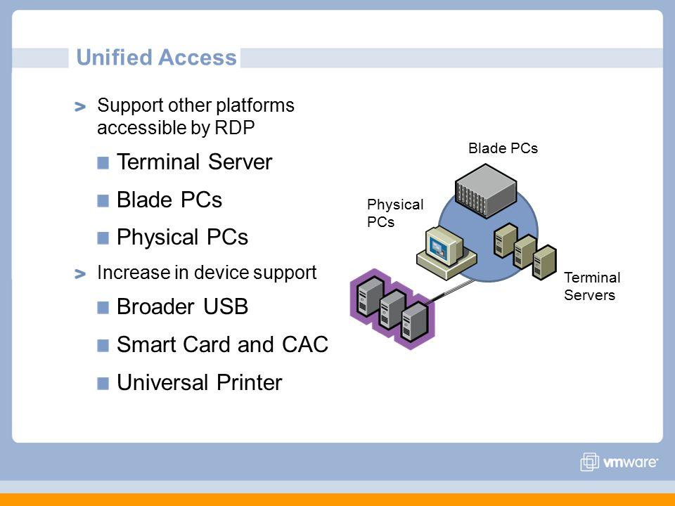 Unified Access Terminal Server Blade PCs Physical PCs Broader USB