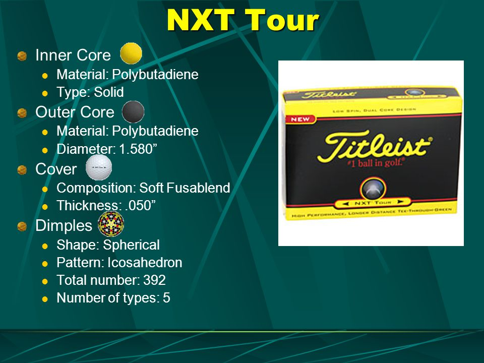 NXT Tour Inner Core Outer Core Cover Dimples Material: Polybutadiene