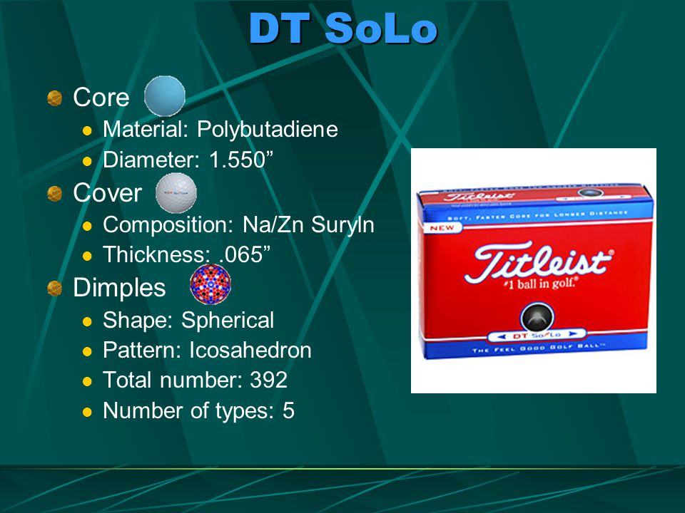 DT SoLo Core Cover Dimples Material: Polybutadiene Diameter: 1.550