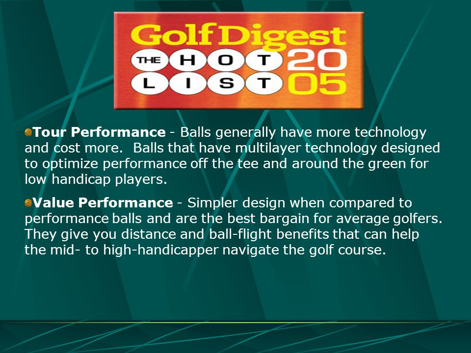 Tour Performance - Balls generally have more technology and cost more