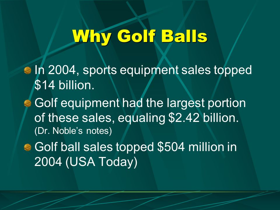 Why Golf Balls In 2004, sports equipment sales topped $14 billion.