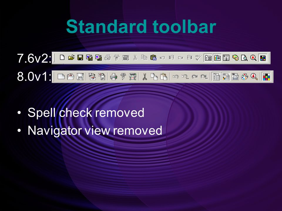 Standard toolbar 7.6v2: 8.0v1: Spell check removed