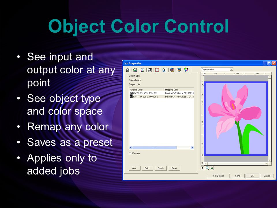Object Color Control See input and output color at any point