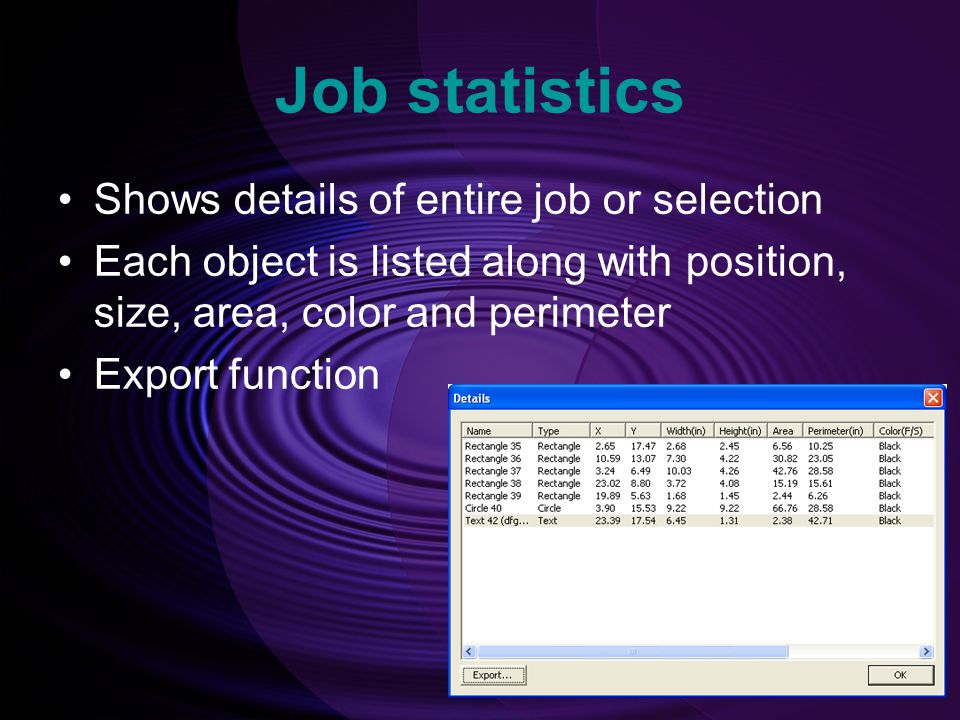 Job statistics Shows details of entire job or selection