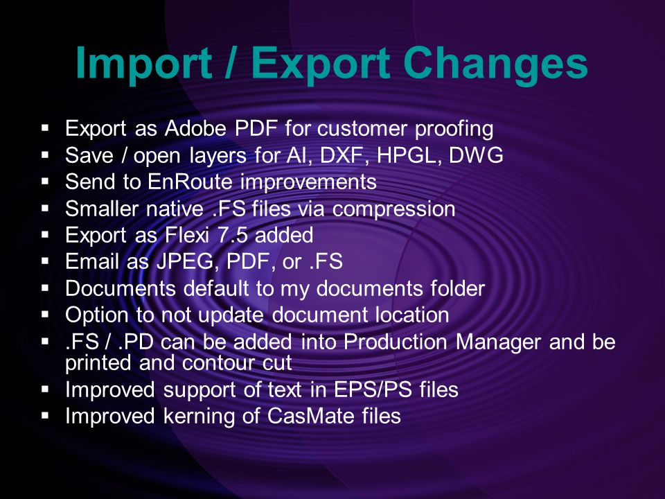 Import / Export Changes