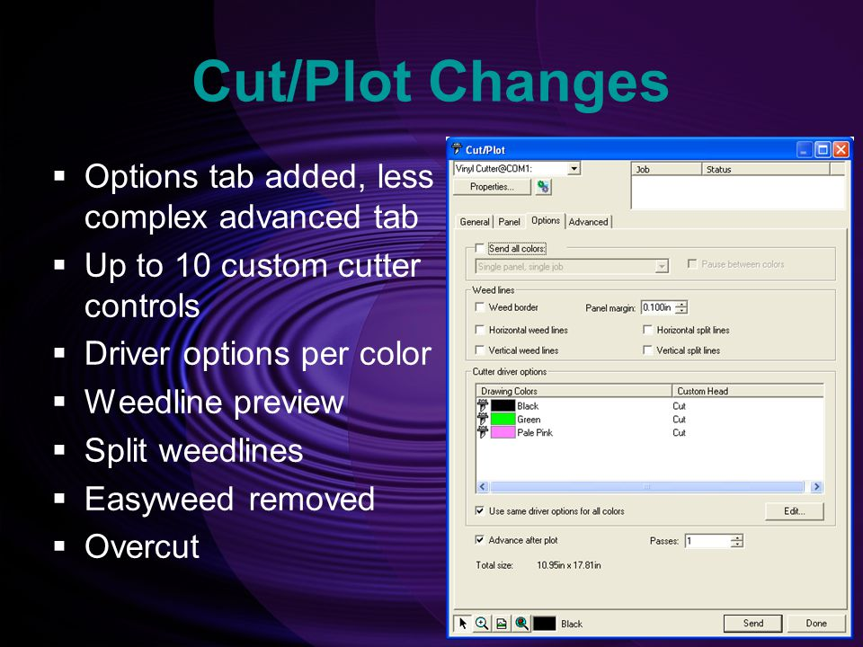 Cut/Plot Changes Options tab added, less complex advanced tab