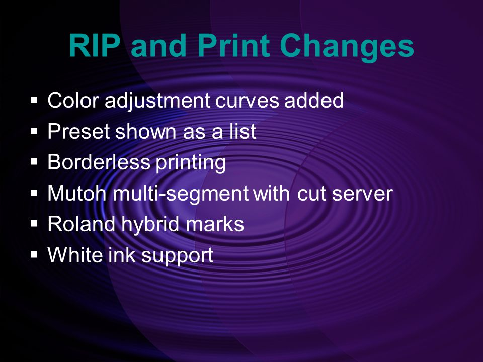 RIP and Print Changes Color adjustment curves added