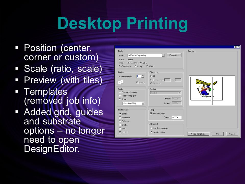 Desktop Printing Position (center, corner or custom)