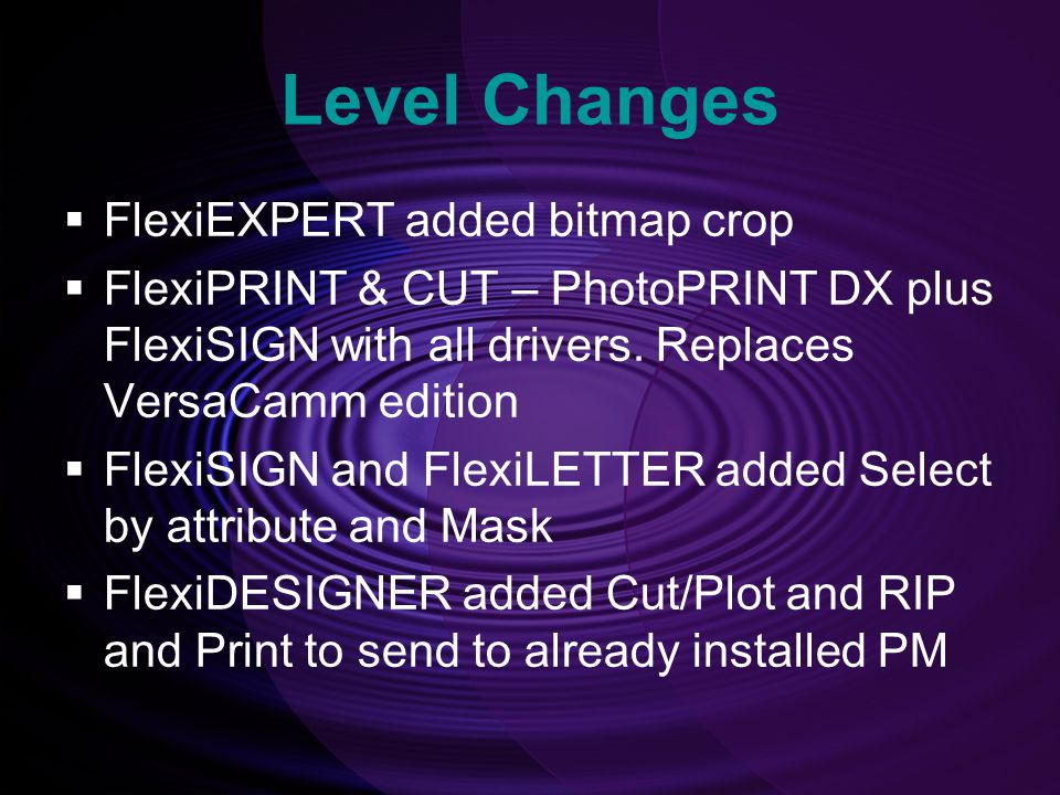 Level Changes FlexiEXPERT added bitmap crop